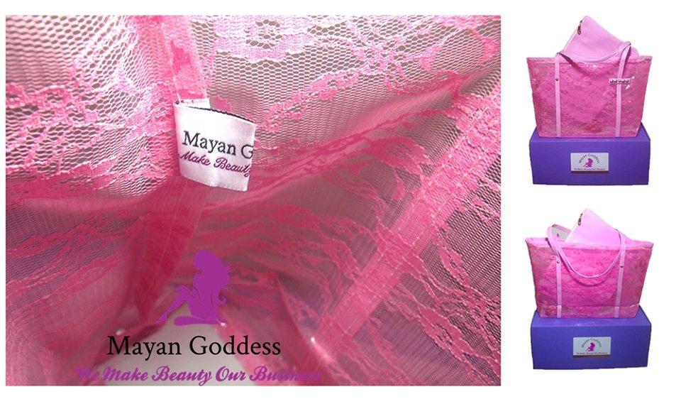 Mayan-Goddess-2-Piece-Pink-Lace-Waterproof-Beach-Tote