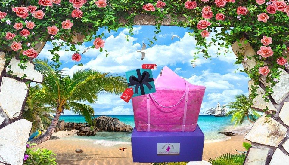 Mayan-Goddess-Waterproof-Pink-Lace-Beach-Tote-MOBILE